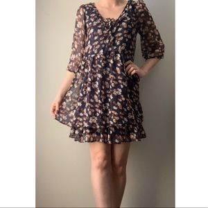 Cinched Waist Sheer Floral overlay Dress
